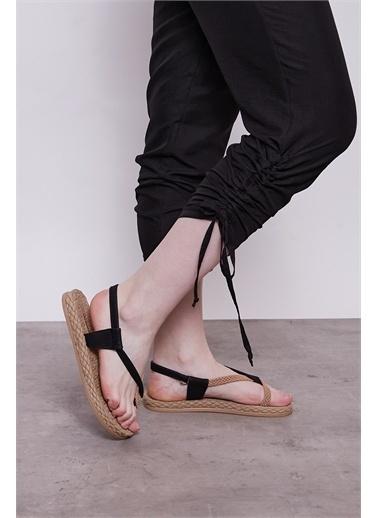 Jument İç Göstermez Viskon Poplin Beli Lastikli Cepli Paçası Büzgülü Rahat Pantolon -Mint Siyah